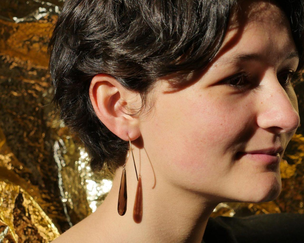 earrings smokey quartz