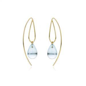 blue topaas blauw kleursteen oorbellen oorringen geelgoud