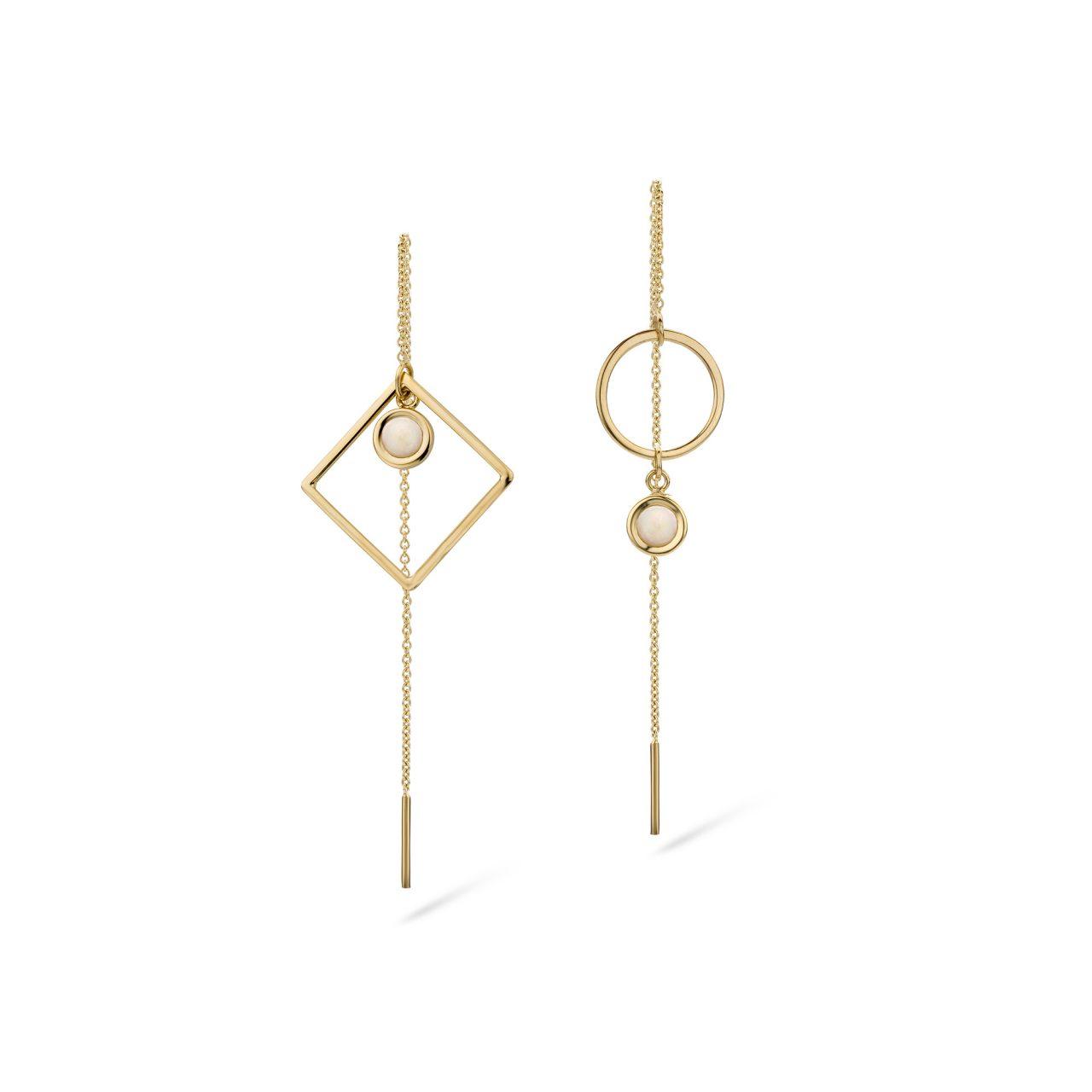 Oorbellen Annick Opaal asymmetrisch slinger ketting