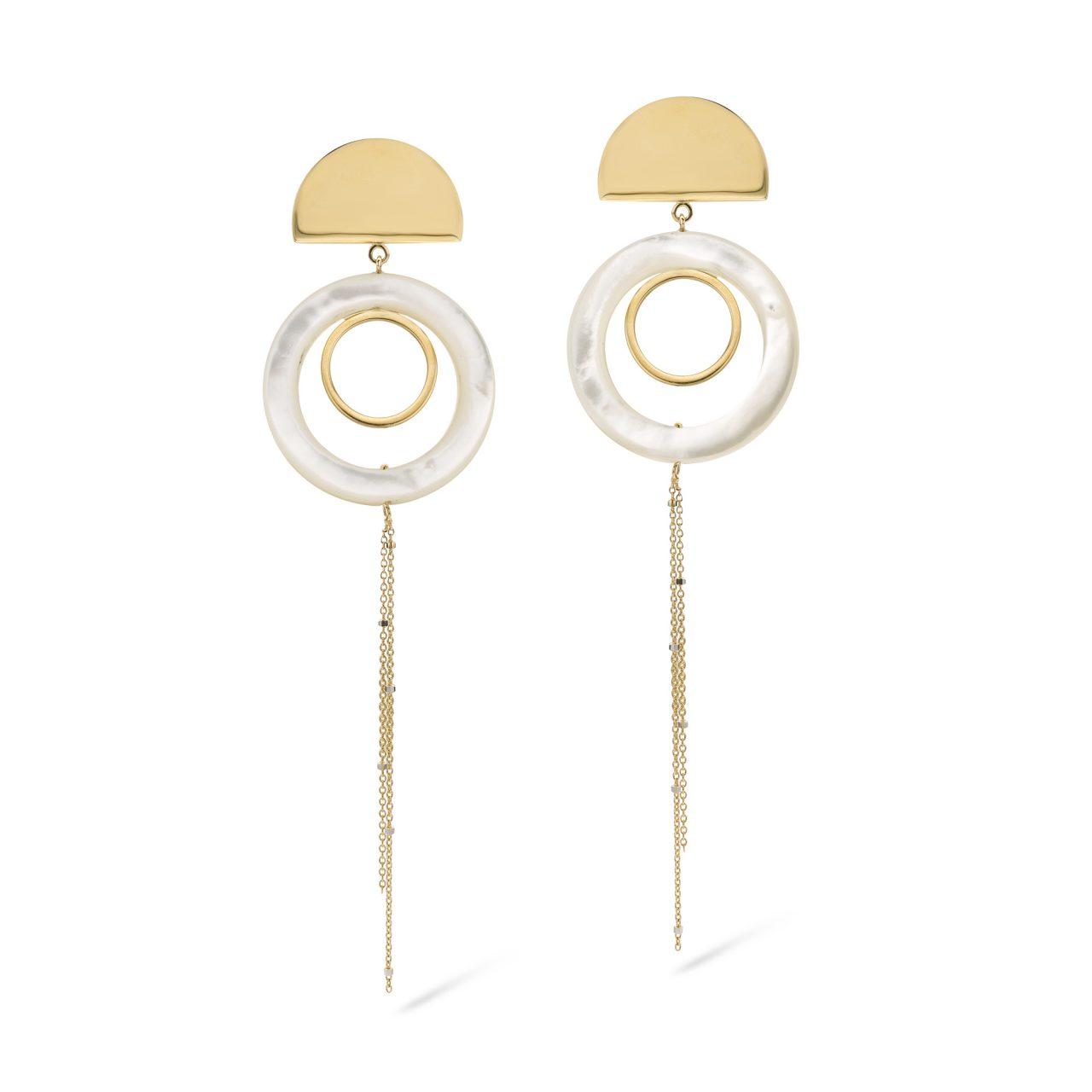 Oorbellen Arielle parelmoer piece unique statement earrings fine jewelry parel gent