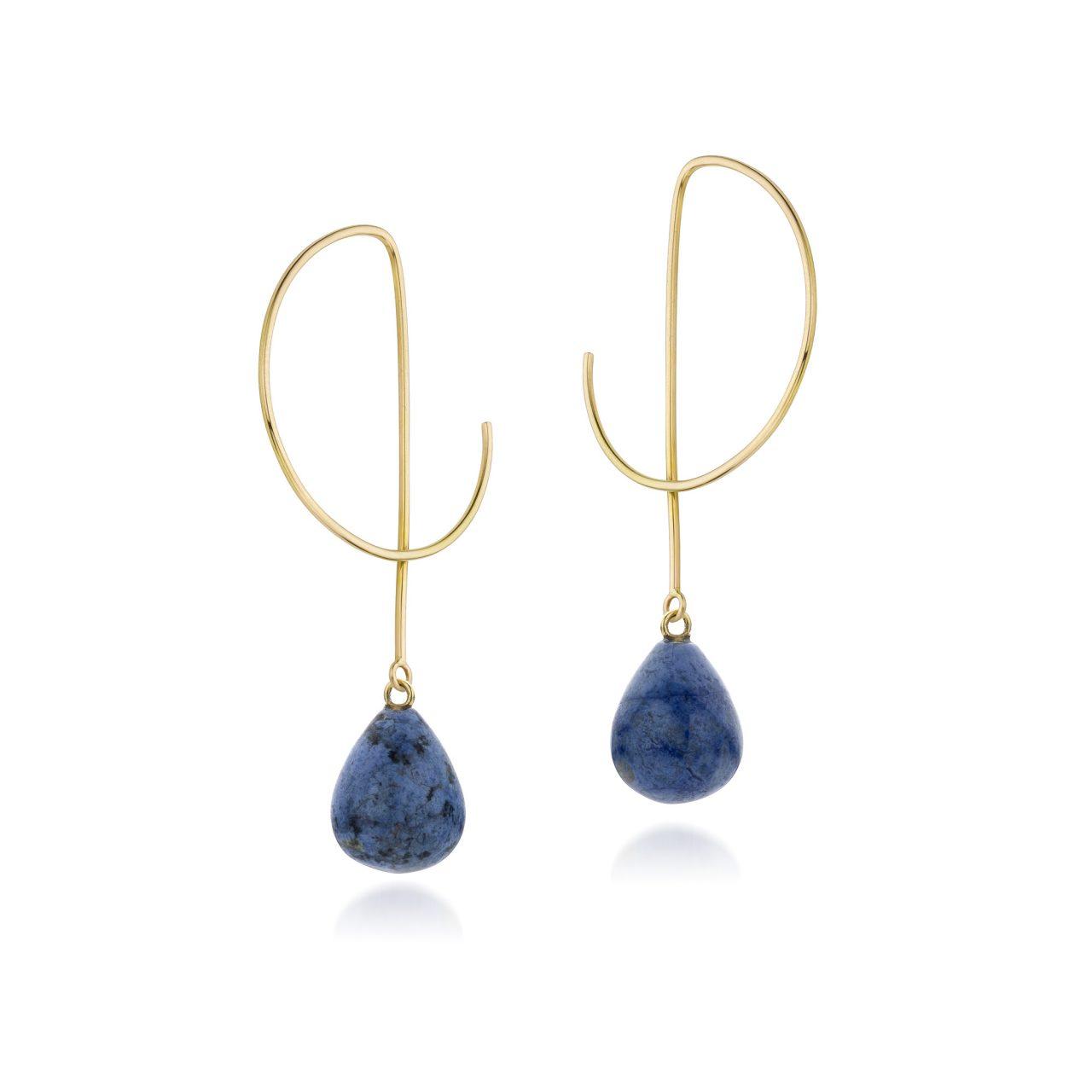 Oorbellen Laura dumorturiet geelgoud creolen blauw edelstenen