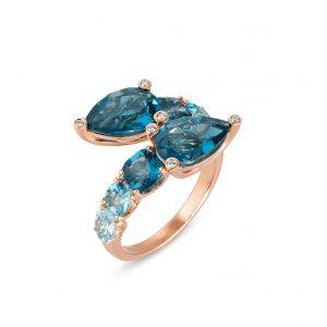 roosgouden ring diamanten en londen topaas